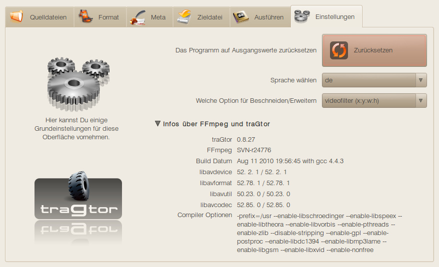 mein neues blog » traGtor – GUI for ffmpeg/avconv